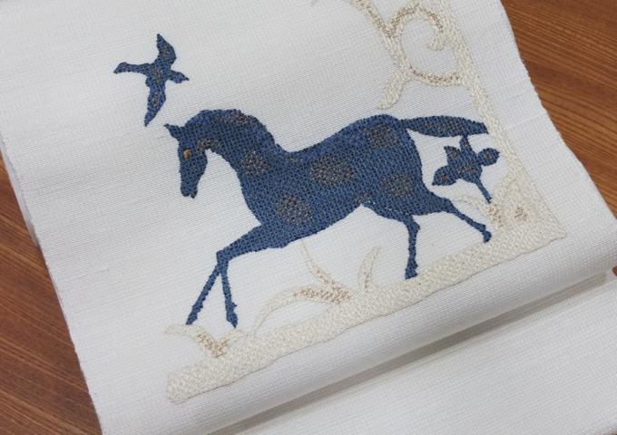 中国刺繍の名古屋帯