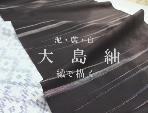 泥・藍・白 大島紬 織りで描く